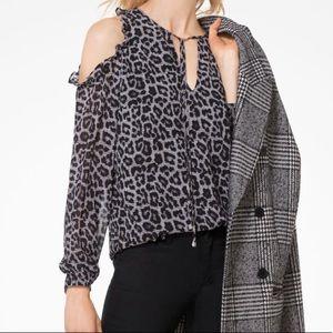 MICHAEL KORS Leopard-print cold- shoulder top.